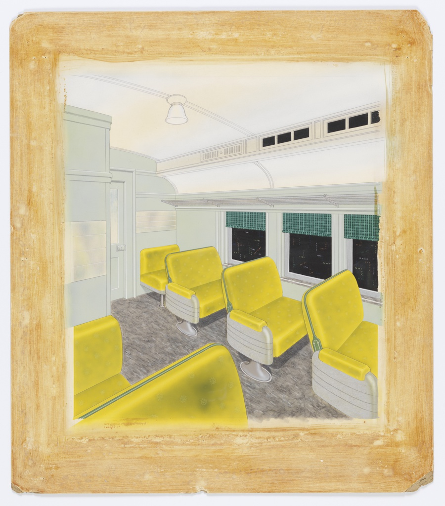 Passenger car with yellow streamlined seats, green window shades.