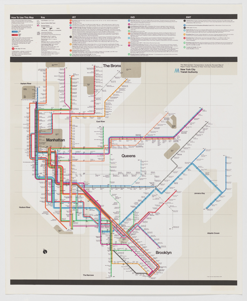 Subway Map In Manhatten.Poster New York City Subway Map 1974 Objects Collection Of