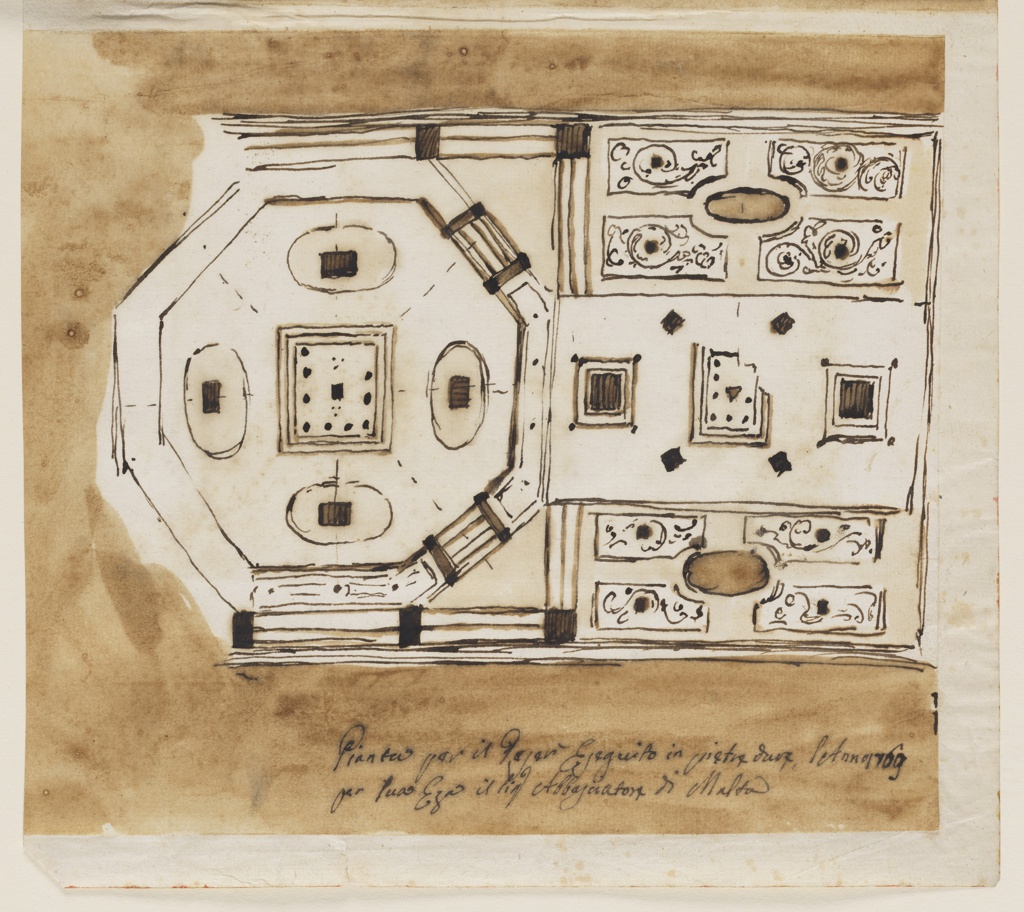 Aerial architectural view of a design for a centerpiece for the ambassador of the Maltese Order. An octagonal form at left with a square at center and ovals at top, left, bottom, and right. At right, three rectangular plans, the top and bottom plans matching, the plan at center with three square forms.