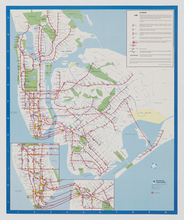 Vertical format New York City subway transit map depicting subway lines throughout the borroughs of Manhattan, The Bronx, Queens, and Brooklyn. At lower left, detail of the southern tip of Manhattan and the westernmost edge of Brooklyn. Dark blue surrounding border, at left printed with white letters A through L, at bottom printed with white numbers 1 through 10. Legend contained within white rectangle at upper right. Rivers and bays indicated in light blue, parks indicated in green.