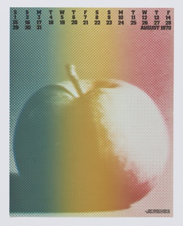 "Allover pixelated color gradient calendar design with a large apple. At top, The days of the week in black text with ""AUGUST 1970."""