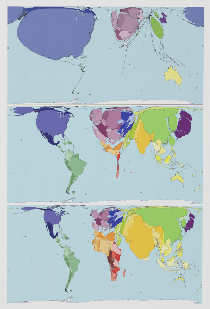 On a vertical sheet, three stacked horizontal world maps, each depicting various countries and territories of the world in the same color scheme. Rather than showing geographical land mass, the size of the countries swells or diminishes in each vertical iteration to reflect relative internet use.