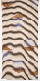 Fabric with narrow purple/blue horizontal stripes and brown geometric motifs.