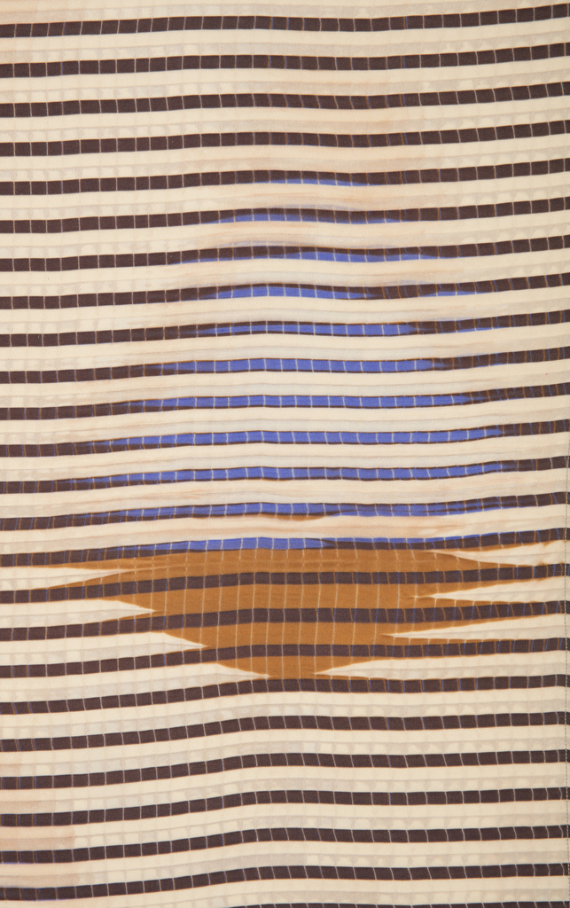 Fabric with narrow purple/blue horizontal stripes and brown geometric motifs.