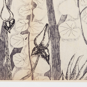 The mural combines the majesty of structure with the tender delicacy of detail. The cover detail shows the canopy of a group of trees. Printed in actual size, texture and one of the available colorways. Inside shows miniature of the full set of panels with dimensions, available colorways, and suggestions for wall arrangements. Printed in black on white paper.