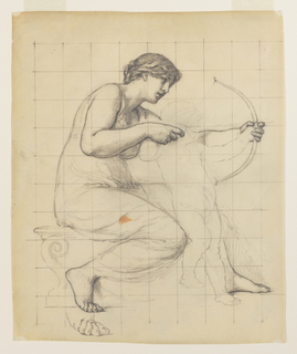 A nude female figure is seated holding a bow and arrow in an upright position next to a young male figure. The paper is squared for transferring the image.