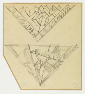 Two designs for shawls in shape of upside-down equalaterial triangles.  In upper triangle, pattern of cubic forms in perspective with border of different cubic shapes.  In lower triangle, stylized bird with flag in mouth.  Border suggested along two edges.