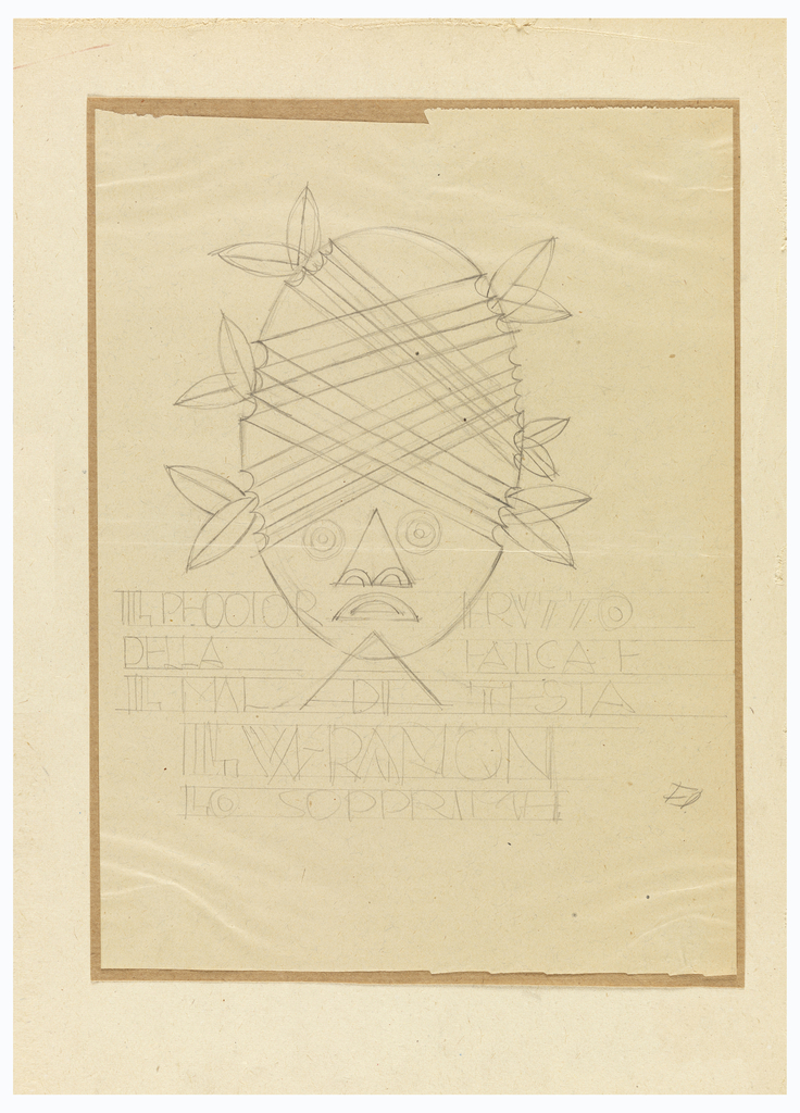 Vertical rectangle. Oval head with features of Aboriginal mask:  large, round eyes; triangular nose, and semi-circular mouth.  Head is wrapped in wide ribbon with double leaves on either side of head.