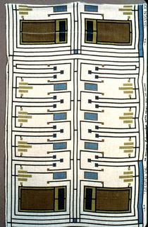 Length of printed linen with a geometric design of rectangular blocks of color in light blue and light and dark olive, joined by fine lines of darker blue, on an off-white ground. Samples of five alternate colorways are attached to the upper back.