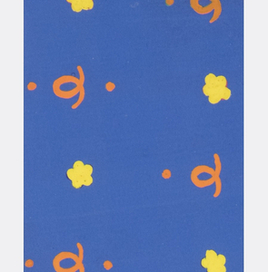 Small patterns of alternating fleurettes and curly cues and dots in orange and yellow on blue background.