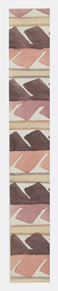 Geometric pattern of abstracted serrated leaves in charcoal, mauve, and beige.