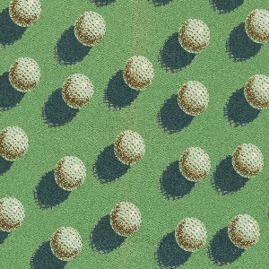 """Yard goods; a Signature Fabric, """"Golf Magic"""" designed by Brian Connelly of Associated American Artists, 1953."""