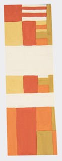 Geometric pattern of alternating horizontal and vertical rectangles in orange, red, and ochre