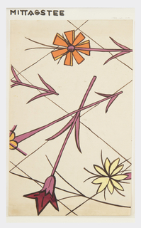 Two flowers with purple stems; one in orange, yellow, and red, all outlined in maroon, on a cream background with a partial diamond pattern.