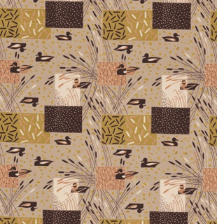 "Yard goods; a Signature Fabric, ""Duck Blind"" designed by Albert John Pucci of Associated American Artists, 1953."
