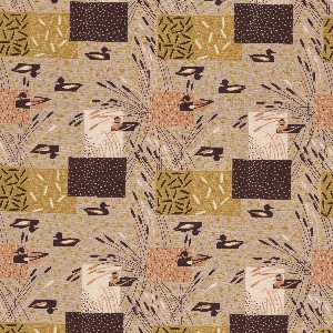 """Yard goods; a Signature Fabric, """"Duck Blind"""" designed by Albert John Pucci of Associated American Artists, 1953."""