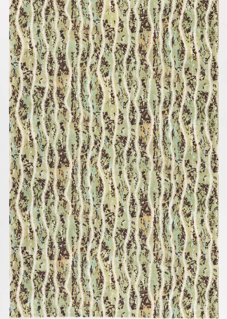 """Yard goods; a Signature Fabric, """"Feathery Stripe"""" designed by Roger Chapin of Associated American Artists, 1954."""