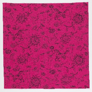 "Yard goods; cotton, black print on hot pink ground, ""Unicorns"" by Emma Yarlekovic of Associated American Artists, 1954."