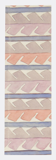 Geometric pattern of abstracted serrated leaves in gray, mauve, pale red, and ivory.