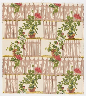 "Yard goods; print on cotton barkcloth in taupes, greens, coral, terra cotta, light turquoise, and purple on a natural ground, ""Geraniums"" by Brian Connelly of Associated American Artists, a Riverdale Fabric, 1952."