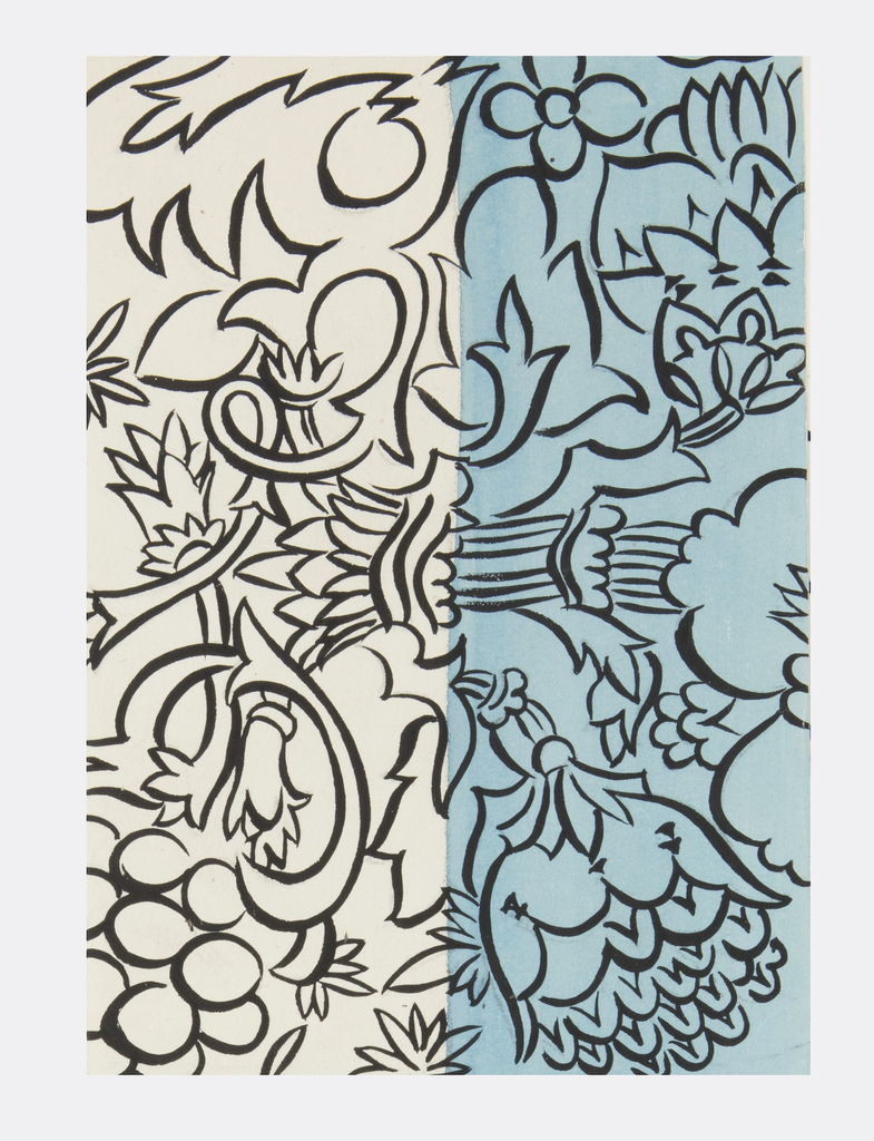 Alternating cream and blue ground with a black pattern of flowers and column-like forms