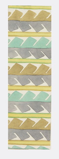 Geometric pattern of abstracted serrated leaves in gray, green, turquoise, and ivory.