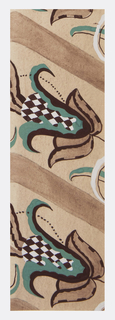 Chevron stripped bank alternating with tulip-shaped flowers with checkerboard interior sections in green on brown and white background.