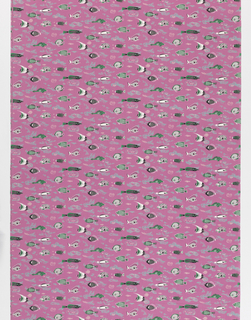 "Yard goods; a Signature Fabric, ""Aquaria"" designed by Richard Munsell of Associated American Artists, 1952."