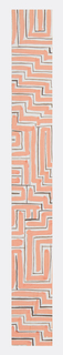 Geometric pattern consisting of a maze-like network of zigzag lines in peach, black, and pale blue.