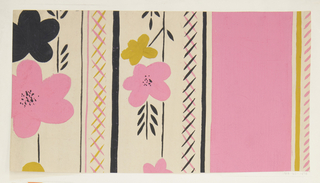 On cream ground, partial view of pattern design with vertical stripes of various sizes as well as crosshatched columns; between these, large groups of flowers. The design in pink, yellow, and black.