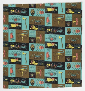 "Yard goods; a Signature Fabric, ""Hook 'n' Ladder"" designed by Laura Jean Allen of Associated American Artists, 1953."