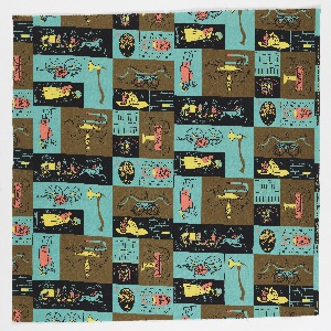 """Yard goods; a Signature Fabric, """"Hook 'n' Ladder"""" designed by Laura Jean Allen of Associated American Artists, 1953."""