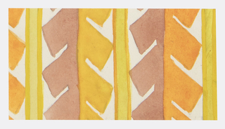 Geometric pattern of abstracted serrated leaves in brown, yellow, chartreuse, and orange.