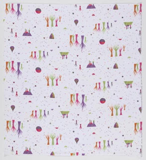 "Yard goods; cotton print in bright pastels on a white ground, ""Days of Yore"" by Stephen Rex of Associated American Artists, a Signature Fabric by M. Lowenstein & Sons, 1954."