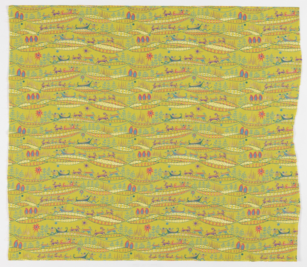 """Yard goods; cotton print, polar-themed design in blue, deep turquoise, hot pink, purple, white, and metallic gold on a chartreuse ground, """"Top-O-World"""" by Emma Yarlekovic of Associated American Artists, 1955."""