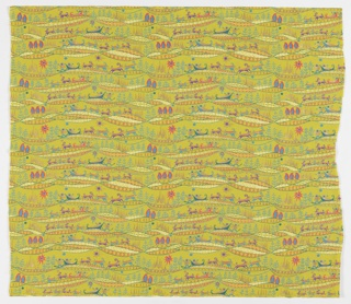 "Yard goods; cotton print, polar-themed design in blue, deep turquoise, hot pink, purple, white, and metallic gold on a chartreuse ground, ""Top-O-World"" by Emma Yarlekovic of Associated American Artists, 1955."