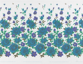Yard goods; polished cotton, floral border design in deep turquoise, blue, violet, purple, emerald, and olive greens on a white ground, a Soap 'n' Water design created by Associated American Artists, 1957.