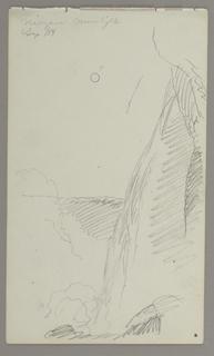 Drawing, Falls in moonlight, 1858