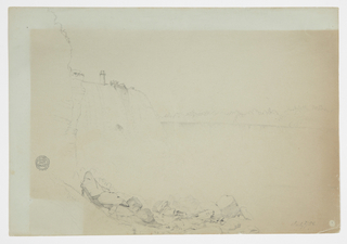 Drawing, View of Falls from the American Bank; Verso: Small detail of the fall, July 1856