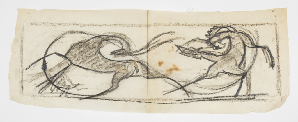Within rectangular framing line, two animal figures in combat, the ibex at left charging with its horns, the fox coiled to attack at right.