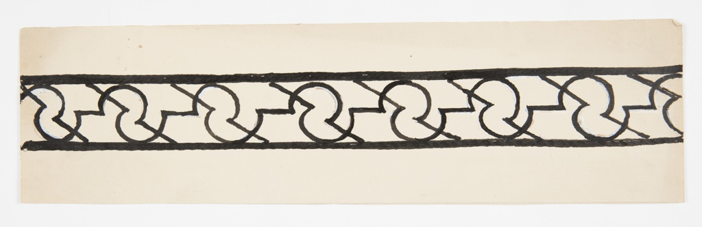 """Pattern design for a border with horizontal framing lines at top and bottom. Between the bands, a repeating pattern composed of two united semicircles, shaped like a backwards """"S,"""" with straight lines connecting the shapes across the repeat."""