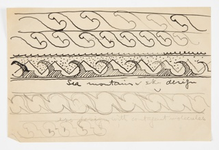 Five rows of a pattern border design, each with slight variations, the border at center most complete. All patterns repeating an abstract form composed of striped and dotted circular and triangular shapes accompanied by straight and wavy lines.