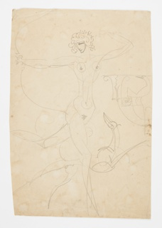 Study for a sculpture of the nude goddess Diana holding a large bow, her left leg raised behind her. Below her, a hound. At right, ornamental bird motif.