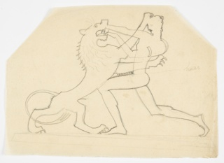 Outline drawing of the figure of Hercules fighting the Nemean Lion, his hands holding the jaws of the giant cat, who stands on his hind legs. Verso: the same image in reverse, traced in graphite from the recto. Hexagonal sheet.