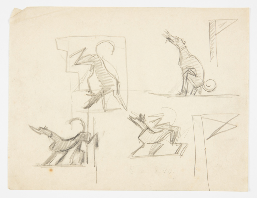 Four sketches of hounds in various positions. At upper left, a hound descending a staircase. At upper right, a seated dog howling. At bottom, two sketches of standing hounds.