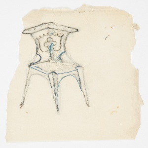 Design for a chair intended to be executed in metal. Without arms, the splat and back of the chair are situated at the corner bracket on an angle. Trefoil design at center of splat.