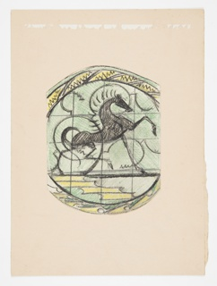Design for a plate to be executed in ceramic. Colorful layout featuring a black horse atop a set of yellow and green pattern and surrounded by an ornamental border.