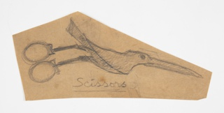 Design for a pair of scissors in the form of a bird, the fingerholds formed by the feet, an elongated beak serving as the shears.