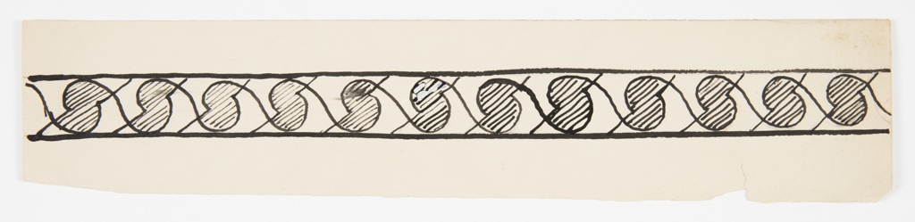"Pattern design for a border with horizontal framing lines at top and bottom. Between the bands, a repeating pattern composed of two united semicircles filled with stripes, shaped like an ""S,"" with curving lines connecting the shapes across the repeat."