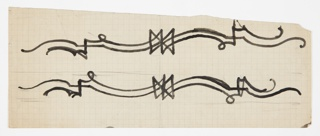 Design for a border pattern featuring two elongated and stylized hounds, each made up of two curving sets of lines, stacked one above the other.